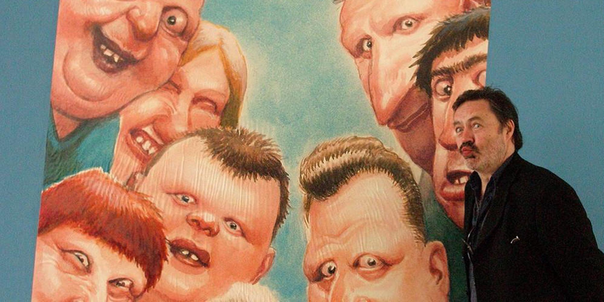 © Manfred Deix mit seinen Figuren, o.D., Karikaturmuseum