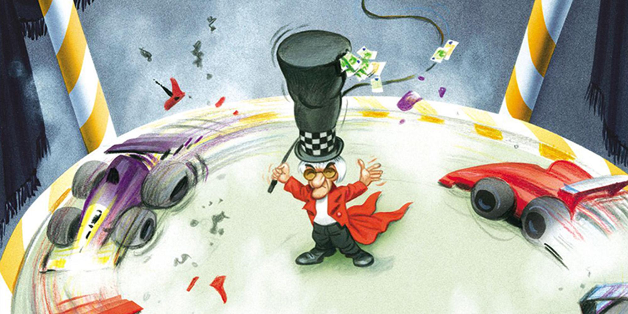 Bruno Haberzettl, Was ist das? Verpestet die Luft, macht Höllenlärm und dreht sich ständig nur im Kreis? – Die Formel 1 in der Krise…, 2015, Bildausschnitt © Bruno Haberzettl, Krone bunt