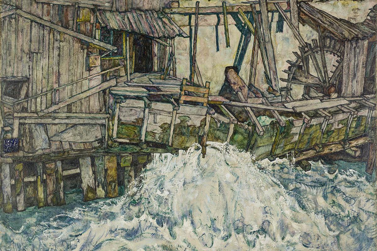 © Egon Schiele, Zerfallende Mühle, 1916, Landessammlungen NÖ
